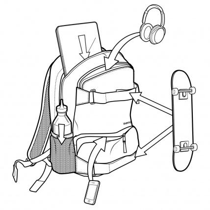 Burton Treble Yell Skate Backpack LA Sky Heather Details