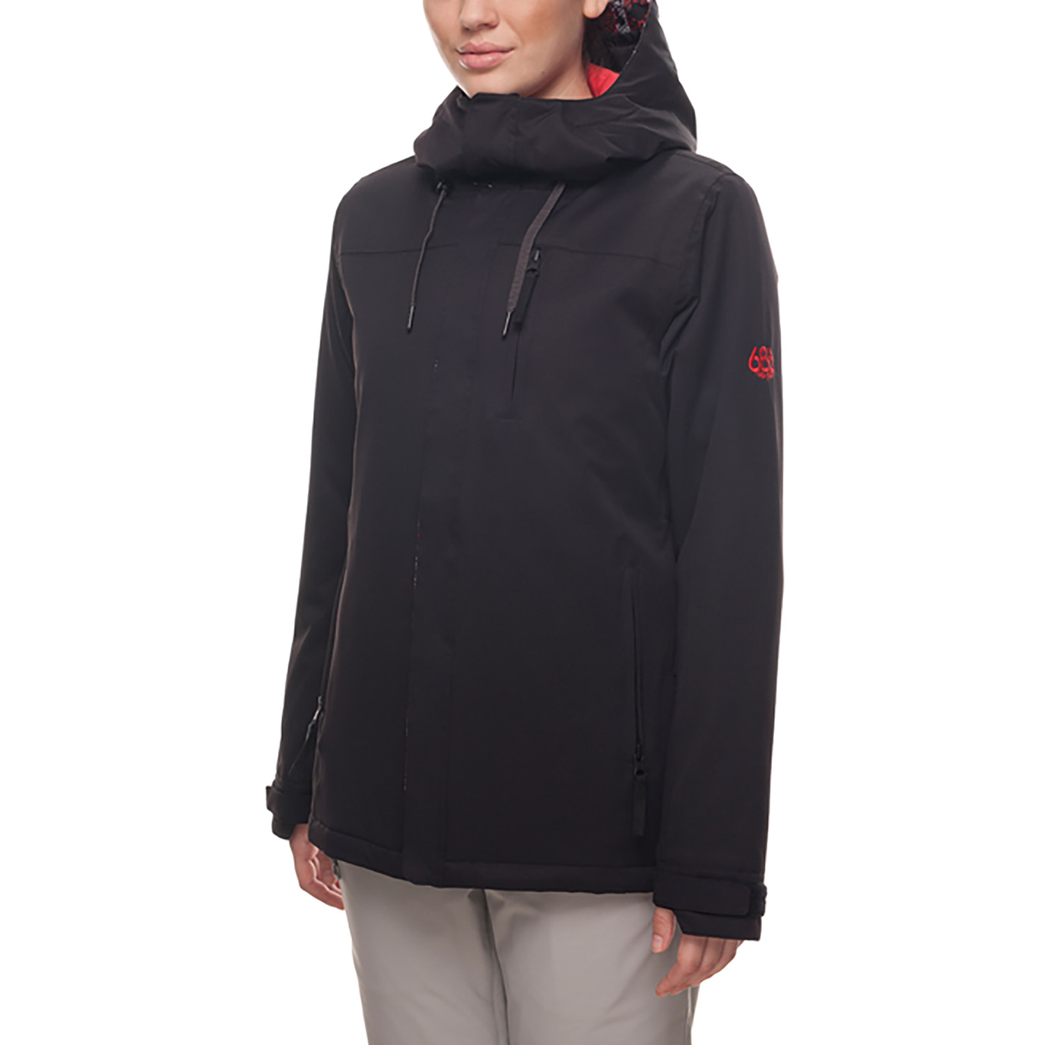 686 Eden Black Womens Insulated Snowboard Jacket Front Side