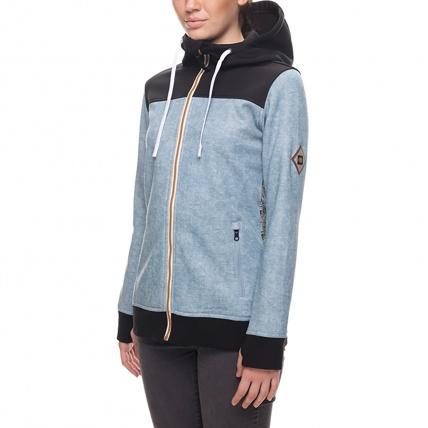 686 Womens Ella Zip Bonded Fleece in Light Blue front side