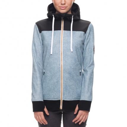 686 Womens Ella Zip Bonded Fleece in Light Blue front