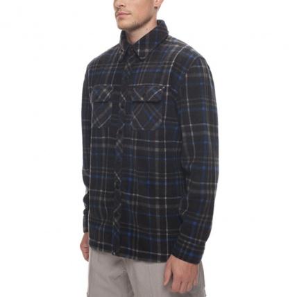 686 Sierra Black Plaid Mens Flannel Fleece Shirt front side