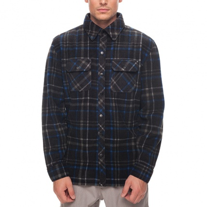686 Sierra Black Plaid Mens Flannel Fleece Shirt front