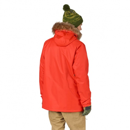 Analog Frazier Mens Snowboard Jacket in Jello Shot on model back