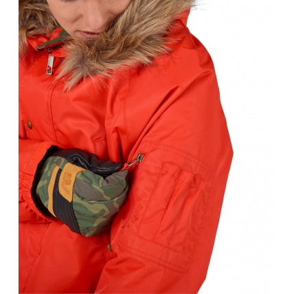 Analog Frazier Mens Snowboard Jacket in Jello Shot on model zipper pocket