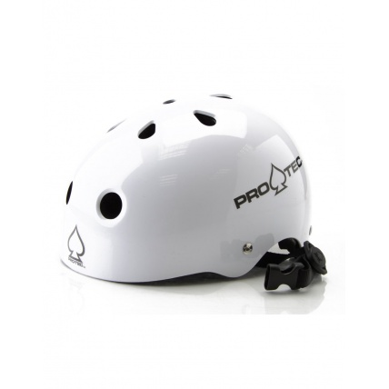 Protec Gloss White Helmet - Certified