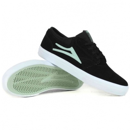 Lakai Griffin Skate Shoes in Black and Mint Suede