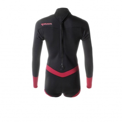 Brunotti Defence Womens 3/2 LA Summer Shorty Wetsuit Coral and Black back