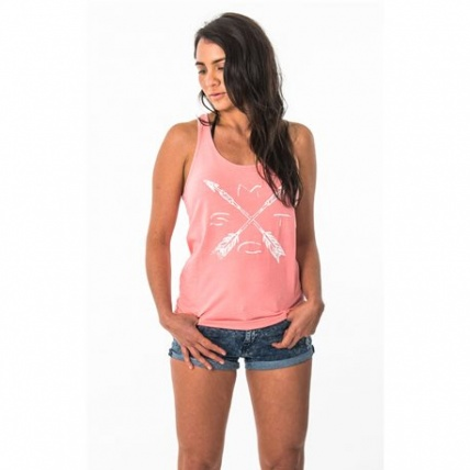 Mystic Facile Womens Singlet in Coral