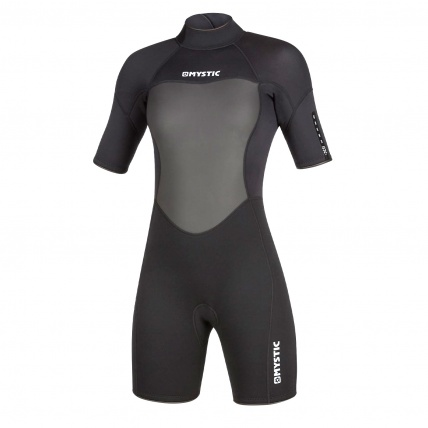Mystic Brand 3/2 Womens Summer Shorty Wetsuit Black front