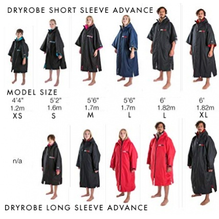 Dryrobe Advance Short Sleeve Changing Robe Size Guide