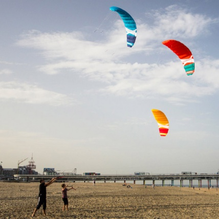 Cross Kites Quattro Four Line Power Kite in use flying