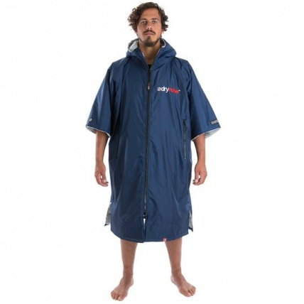 Dryrobe Advance Short Sleeve Navy Blue and Grey Changing Poncho