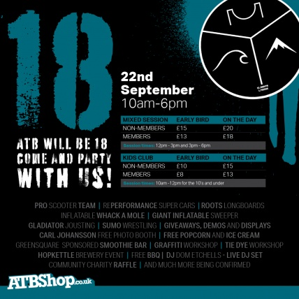 atbshop and atbshop skateqwarehouse turn 18 years old. ATBShops 18th birthday party poster