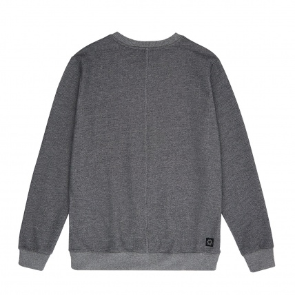 Mystic Brand Crew Sweatshirt in Asphalt Grey Melee back