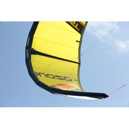 Ozone Catalyst V2 Kitesurfing Kite in use in yellow