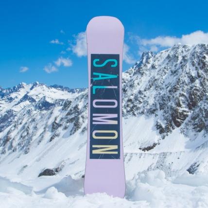 Salomon Oh Yeah Womens Snowboard at Spring Break Snowboard Test base graphic