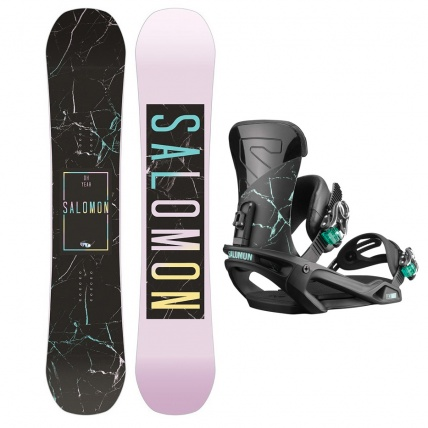 Salomon Oh Yeah Womens Snowboard and Salomon Vendetta Snowboard Binding Package Deal
