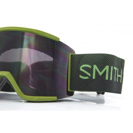 Smith Squad XL Moss Surplus ChromaPop Sun Black Snow Goggles close up