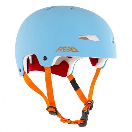 Rekd Protection Elite in Blue and Orange Helmet