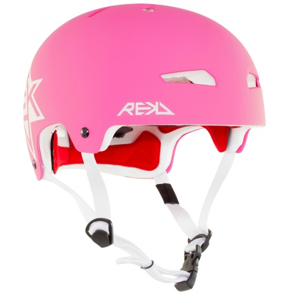 Rekd Protection Elite Icon Helmet in Pink and White Front