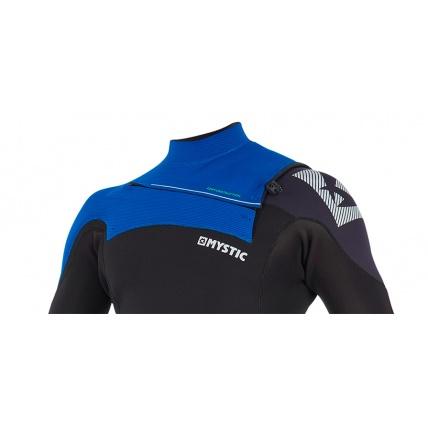 Mystic Drip 5/4mm Blue Full Suit Front Zip Wetsuit Neck Detail