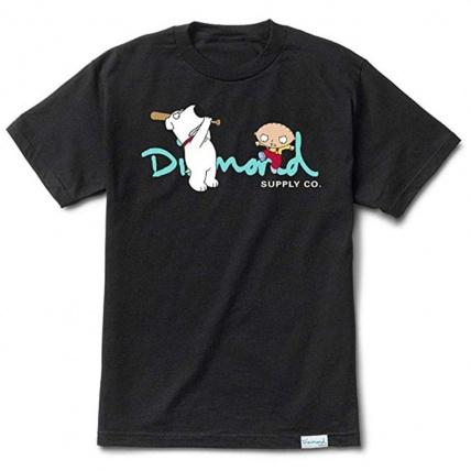 Diamond X Family Guy OG Script Tee in Black