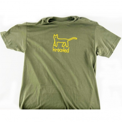 Krookec Big Kat T-shirt Army Green Yellow