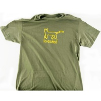 Krooked - Cat T-Shirt in Army Green and Yellow