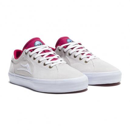 Lakai Flaco 2 x Glaboe White Red Skate Shoe angle