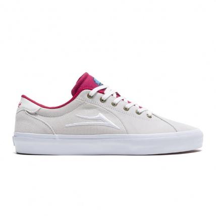 Lakai Flaco 2 x Glaboe White Red Skate Shoe side