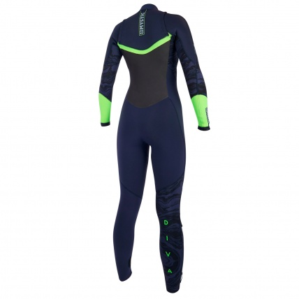 Mystic Diva 5/3mm Winter Steamer Wetsuit Navy Lime Front Zip Rear