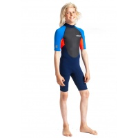 C-Skins - Junior Element 3:2 Shorti Unisex Wetsuit Navy Flo Red