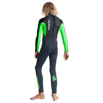 C-Skins Junior Element 3:2 Steamer Unisex Wetsuit Graphite Flo Green