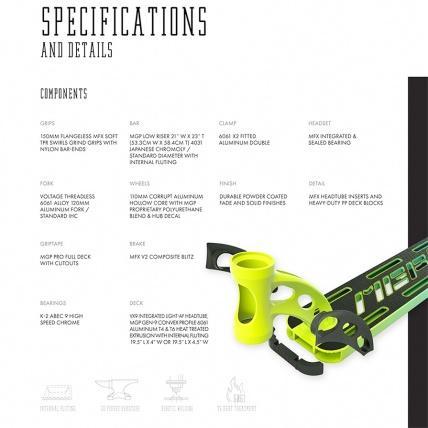 MGP VX9 Pro 4.0 Scooter Lime / Aqua Specs