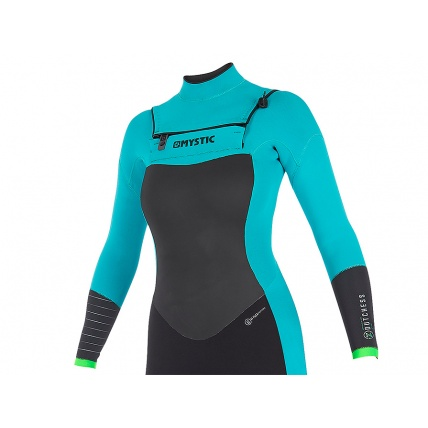 Mystic Dutchess 3/2mm Mint Womens Front Zip Full Summer Wetsuit Front Detail