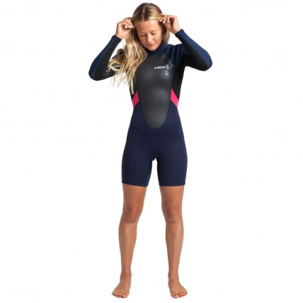 C-Skins Womens Element 3:2 Spring Long Arm Wetsuit Black Coral
