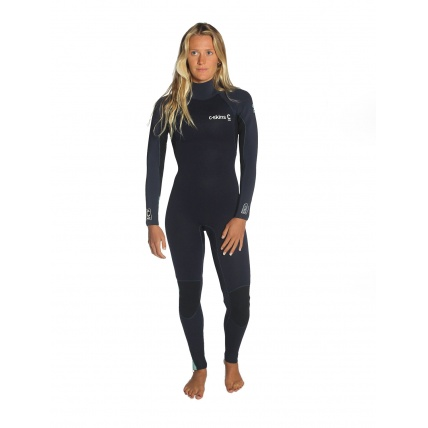 C-Skins Womans Surflite Full Suit Back Zip Black Teal Front