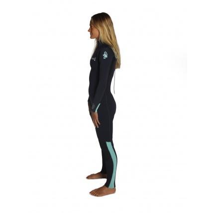 C-Skins Womans Surflite Full Suit Back Zip Black Teal Side