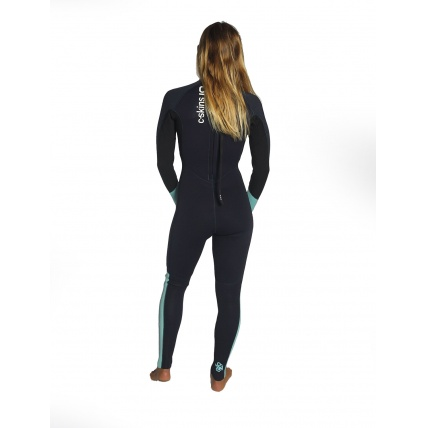 C-Skins Womans Surflite Full Suit Back Zip Black Teal Rear