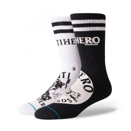 Stance Anti Hero Crew Skate Socks Black White