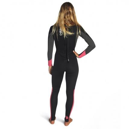 C-Skins Womens Surflite 3:2 Steamer BZ Wetsuit Coral Gun Black Back