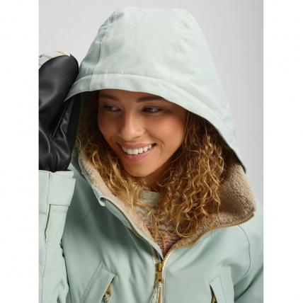 Burton Prowess Aqua Gray Revel Stripe Wmns Snow Jacket hood
