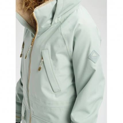 Burton Prowess Aqua Gray Revel Stripe Wmns Snow Jacket close up