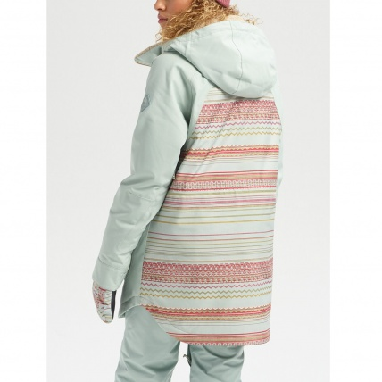 Burton Prowess Aqua Gray Revel Stripe Wmns Snow Jacket back