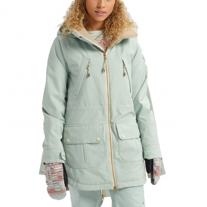Burton Prowess Aqua Gray Revel Stripe Wmns Snow Jacket front