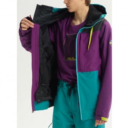 Analog Creed Green-Blue Mens Snowboard Jacket open interior