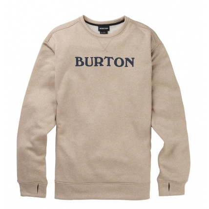 Burton Mens Oak Crew Sweatshirt Plaza Taupe Heather