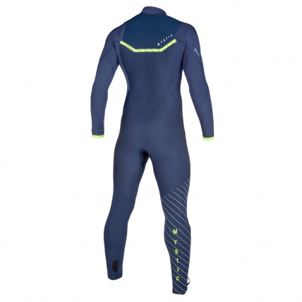 Mystic Marshall 5/3mm Navy Lime FZ Mens Winter Wetsuit Back