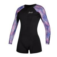 Mystic - Diva 2/2mm Longarm Shorty Front Zip Black Purple Wetsuit