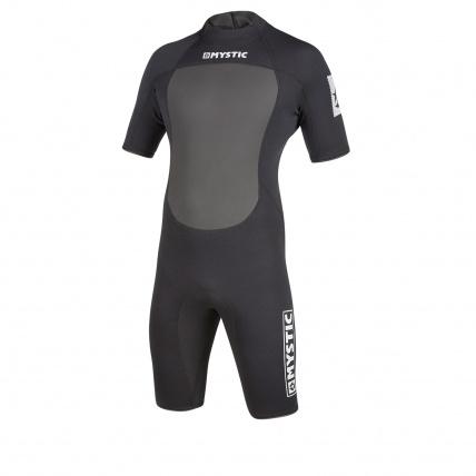 Mystic Brand 3/2 Mens Summer Shorty Wetsuit Black Front
